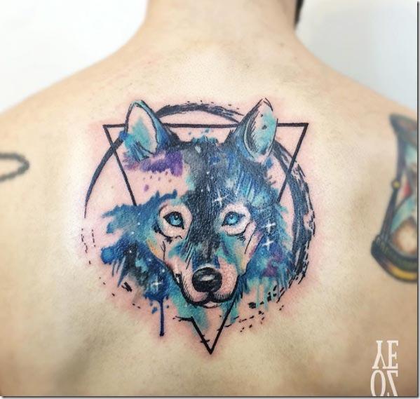 Esta aquarela lobo