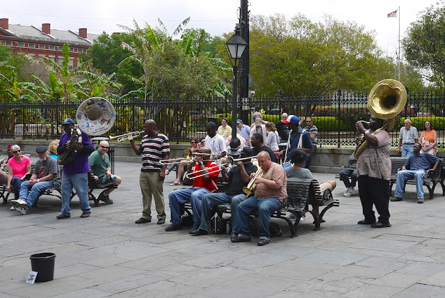 band playing outdoors in New Orleans