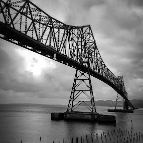 Astoria Bridge by Sharon Leckbee - Buildings & Architecture Bridges & Suspended Structures ( water, black and white, bridge )