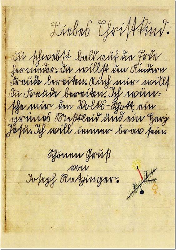 originalbrief des 8 jährigen Joseph an das Christkind 1934