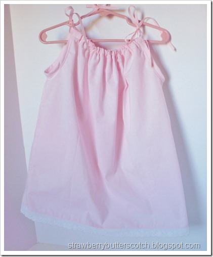 Pink pillow case dress for baby.