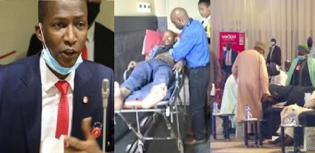 Moment EFCC Boss, Abdulrasheed Bawa Collapses While Giving Speech In Abuja [Video]