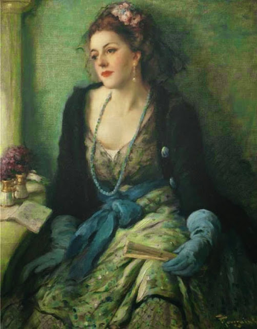 Fernand Toussaint - Elegant lady at the opera