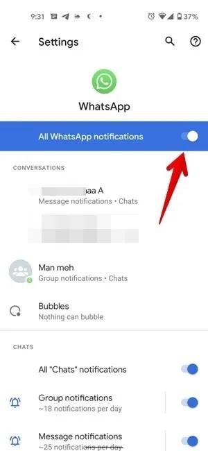 إخطارات Android قم بإيقاف تشغيل Whatsapp