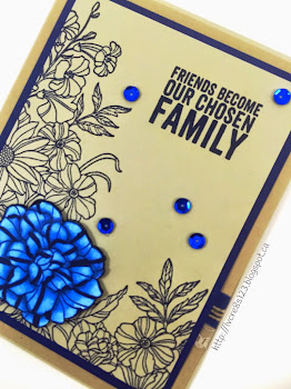Linda Vich Creates: Corner Garden Blues. Clean, crisp lines of the Corner Garden stamp contrast well with Sahara Sand. One flower colored with Blendabilities is popped up with Dimensionals to give the card a 3D quality; sequins add some extra zing.
