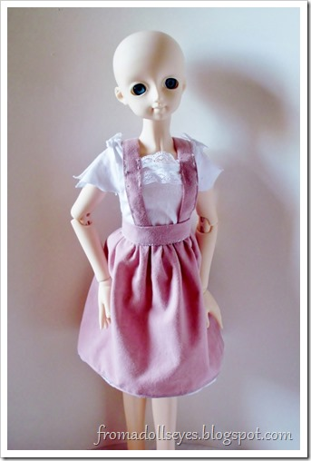 Cute pink skirt and top for a ball jointed doll.