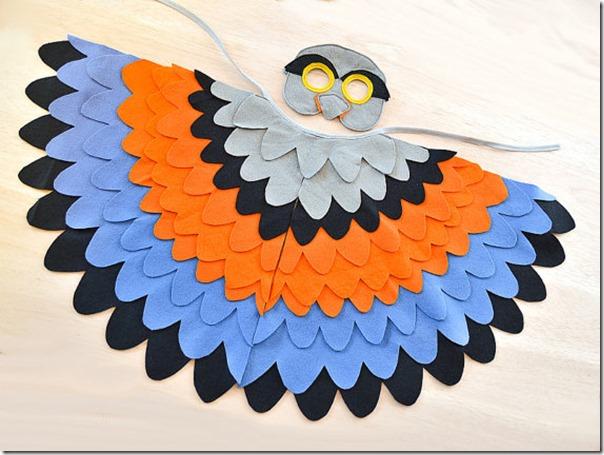 disfraz de pajaros, buhos cisnes con poncho (2)