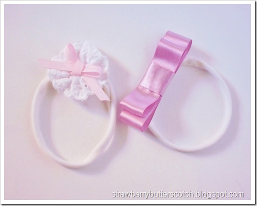 Pretty lace and ribbon headbands for baby.