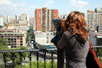 Vasilisa Checking out The City from Cerro Santa Lucia (Santiago, Chile)