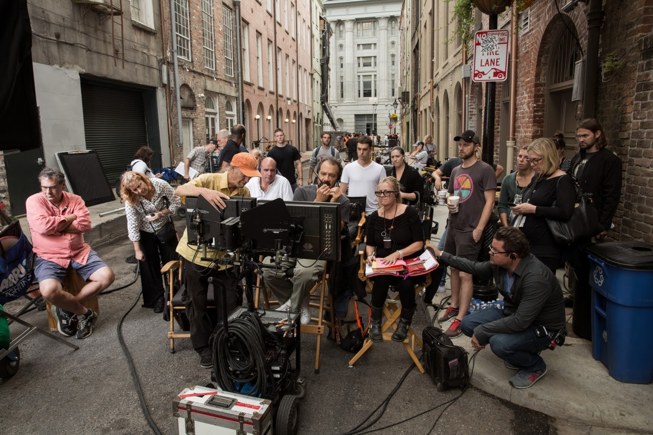 Left to right (center): Director of Photography Oliver Wood, Producer Don Granger, Director Ed Zwick and Script Supervisor Anna Rane on the set of JACK REACHER: NEVER GO BACK from Paramount Pictures and Skydance Productions.