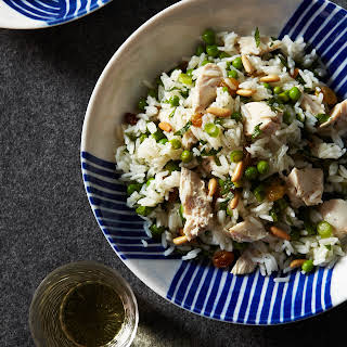Chicken and Rice Salad with Pine Nuts and Lemon.
