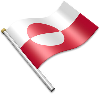 The Greenlandic flag on a flagpole clipart image