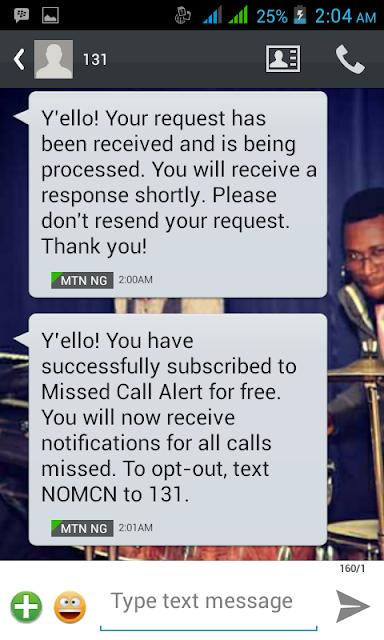 MTN Missed call alert is back!