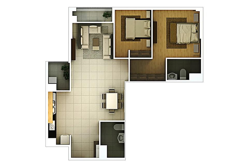 Phối cảnh 2D căn hộ 2 phòng ngủ DT: 87,77m2