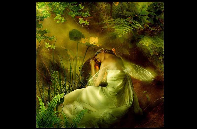 Sleeping Green Fairy, Fairies Girls