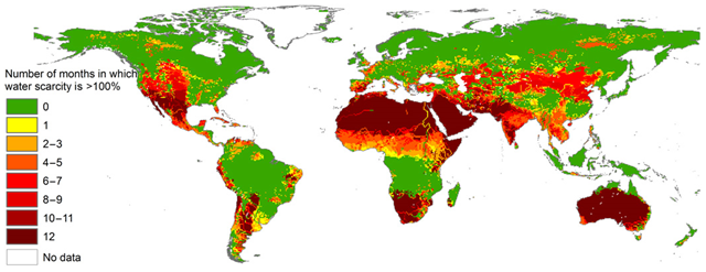 The number of months per year in which blue water scarcity exceeds 1.0, at 30 × 30 arc minute resolution. Period: 1996–2005. Graphic: Mekonnen and Hoekstra, 2016 / Science Advances