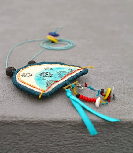 Embroidered Fabric Necklace by Percee