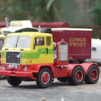 The first Volvo lorry on the fairs was purchased by Bob Wilsons Funfairs in 1980 and made quite an impression on the British-dominated industry. This is reflected in my 1980s set model fleet by the arrival of this F88, a rather challenging build from Road Transport Images resin parts with a Doug Roseaman generator set. It isn't based on any real vehicle but carries the registration OTK 291K of the Wilsons lorry and the unmistakable livery of Stevens of Chertsey, who were synonymous with early fairground Volvos.