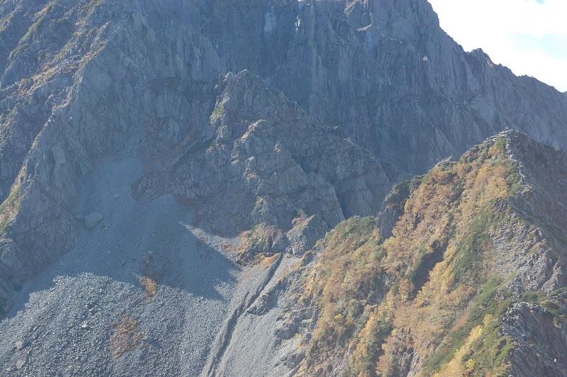 大キレット核心部の崖