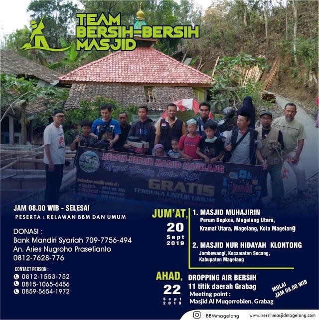 Kegiatan Bersih-bersih Masjid Baitul Muttaqin Genito Kidul, Genito, Windusari dan dilanjutkan dengan BBM Peduli droping air bersih bagi saudara-saudara kita di Grabag Kabupaten Magelang