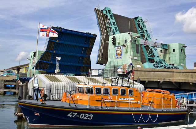 Poole's Tyne class lifeboat 'City of Sheffield' at its berth on Poole Quay