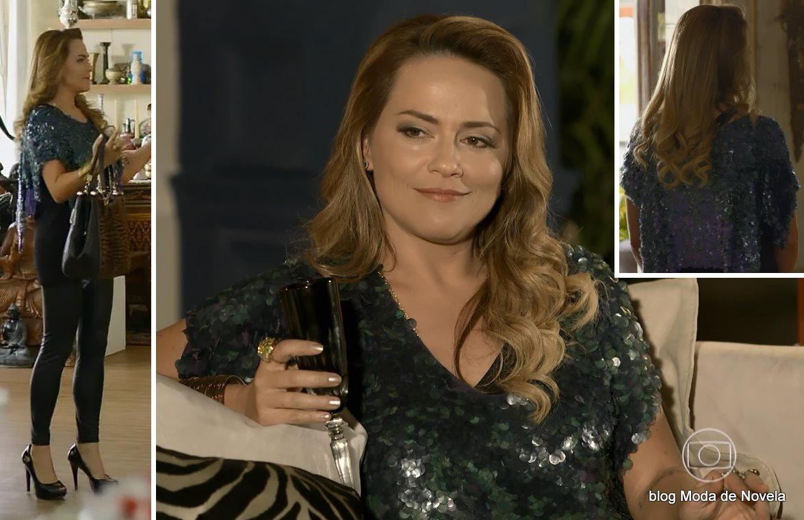 moda da novela Em Família - look da Shirley dia 6 de junho