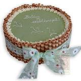 27. kép: Ünnepi torták - Rolád torta felirattal és masnival