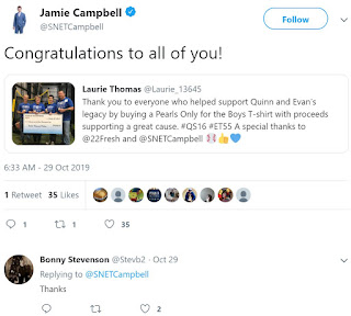 Jamie Campbell Twitter replied to Laurie's tweet about the cheque presentation