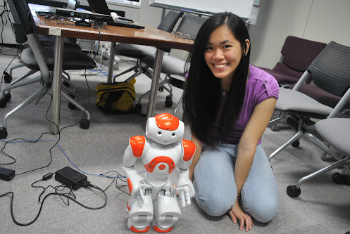 Mariel Dee and the NAO Robot in NAIST, Japan