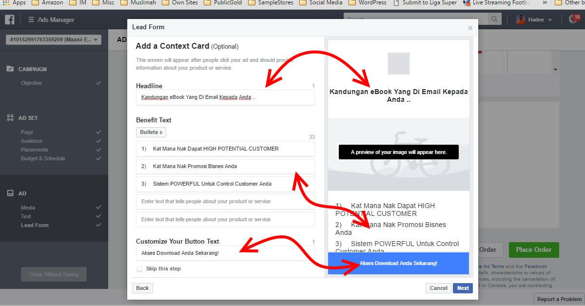 Facebook Ads Ad Lead Form Add Context Card