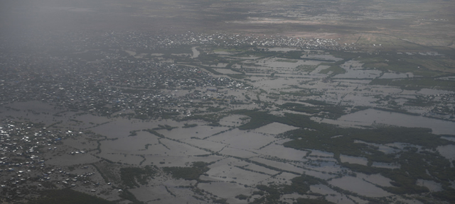 Aerial view of the town of Belet Weyne, in the Hiraan region of Somalia, after it was submerged in flood waters from the Shabelle river on 30 April 2018. Belet Weyne experienced its worst flooding ever and over 150,000 people were displaced. Photo: Ilyas Ahmed / UN Photo