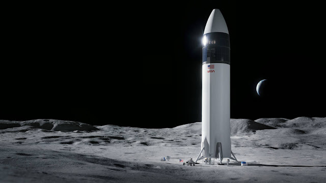 Ilustração da nave Starship colocando as primeiras mulheres na Lua com a missão Artemis