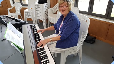 Kay Boyes playing Ken Mahy's Korg SP-250 digital piano.