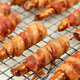 Bacon Wrapped Pretzels with Brown Sugar and Cayenne Glaze