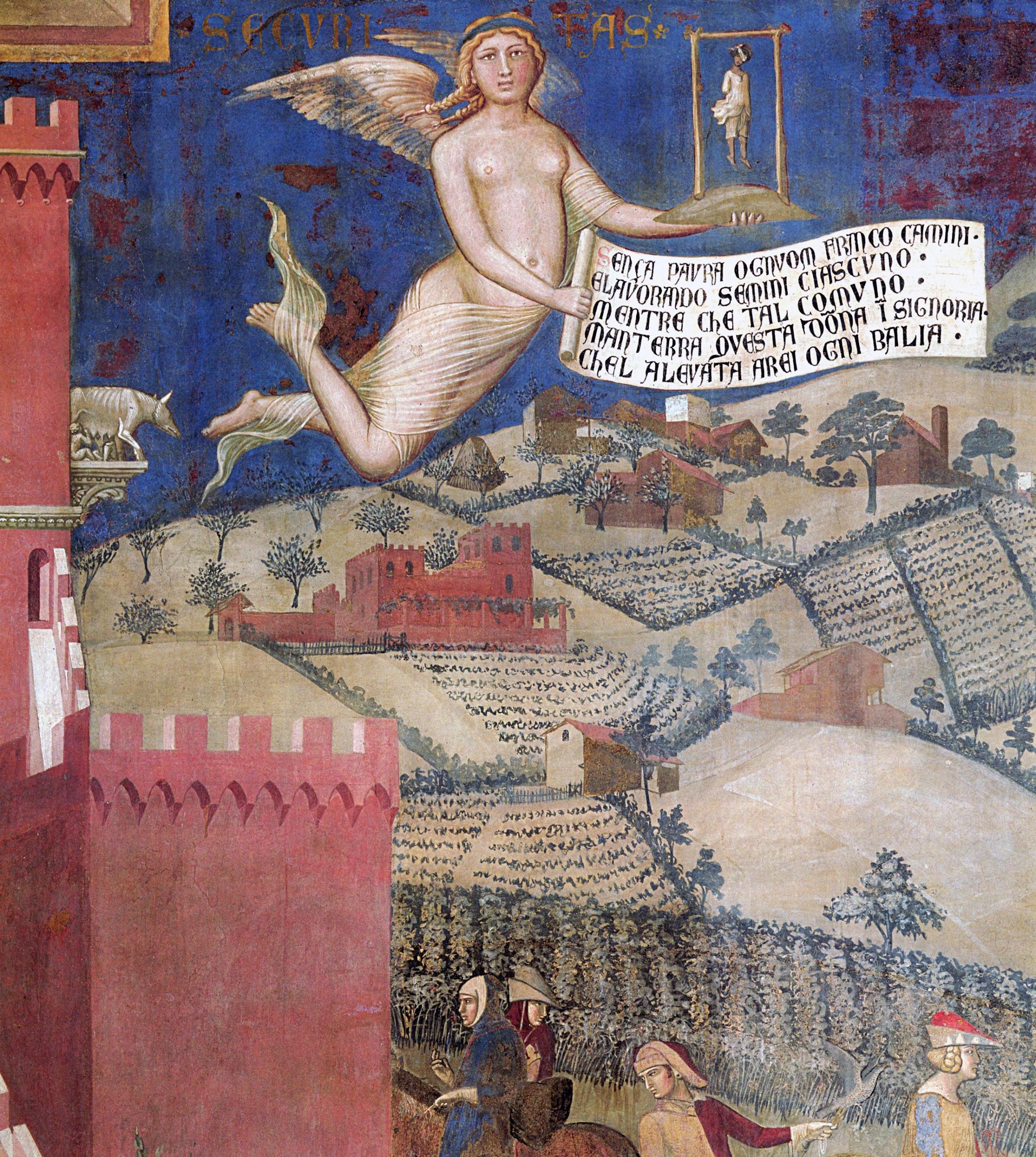 Ambrogio Lorenzetti, Effetti del Buon Governo in campagna, (dettaglio della Sicurezza, con il suo confortante cartiglio), Palazzo Pubblico, Siena