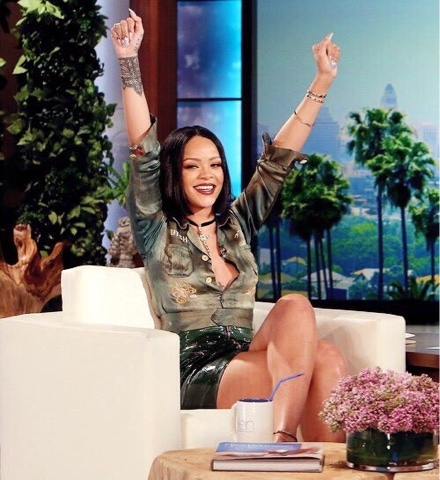 Rihanna in Vintage What Goes Around Comes Around on the Ellen DeGeneres Show