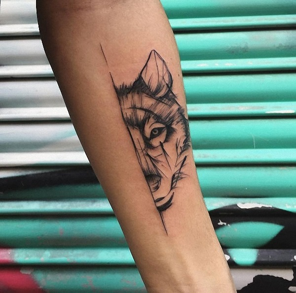 este_esboço_estilo_lobo_tatuagem