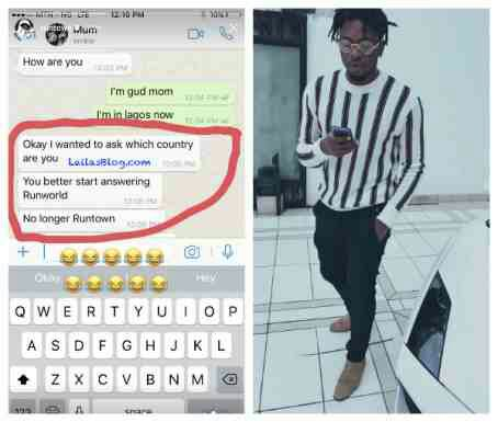 Runtown's mother wants his name changed to 'Runworld'