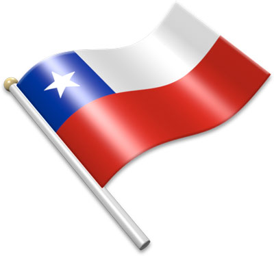 The Chilean flag on a flagpole clipart image