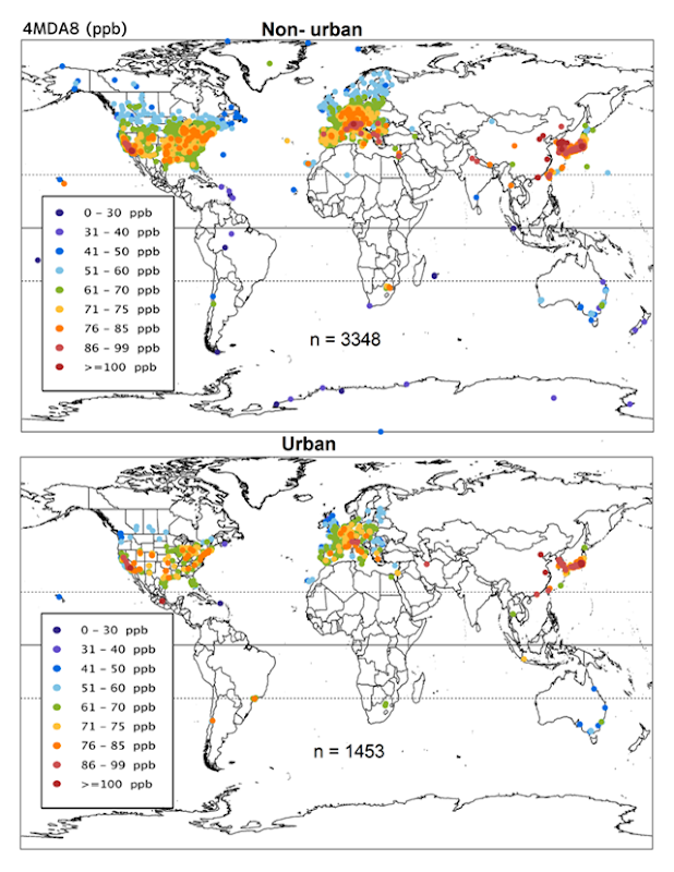 Global map of present-day ozone (2010–2014 average) for 4th highest daily maximum 8-hour ozone (ppb) for non-urban and urban sites. Sample sizes vary according to the data requirements for the calculation of each metric and are shown for each panel. Annual metrics requiring data from all 12 months have smaller sample sizes than the warm season metrics (April–September in the Northern Hemisphere) because many sites in the US only operate during April–September. Graphic: Fleming, et al., 2018 / Elementa: Science of the Anthropocene
