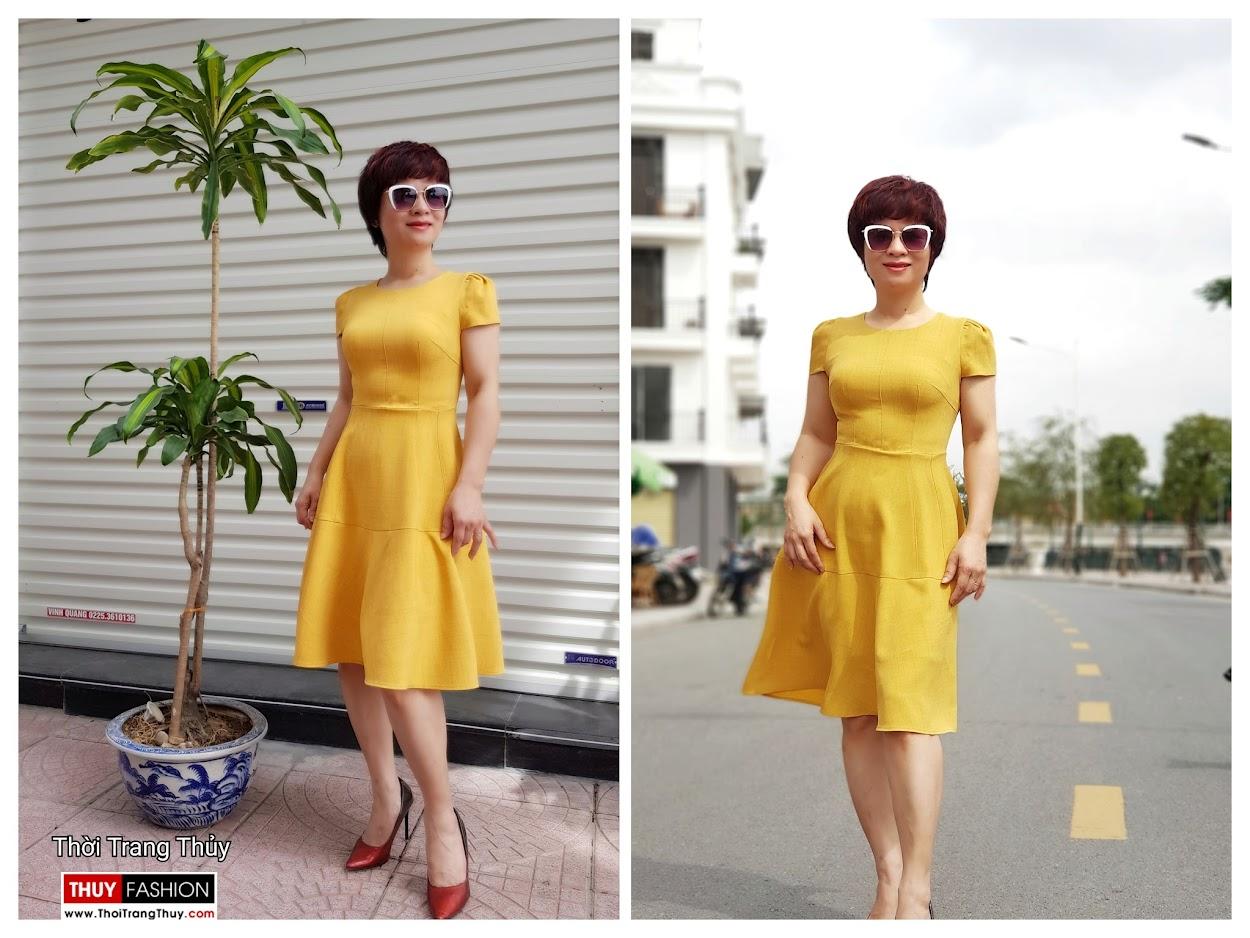 Váy xòe công sở dạo phố màu vàng cam V699 thời trang thủy hải phòng