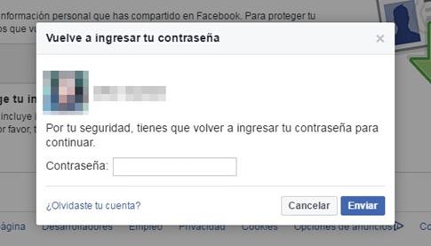 Confirmar contraseña en Facebook