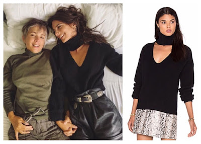 Emily Ratajkowski in LPA Black Ribbed High Neck Cut Out Sweater 212