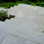 Exterior stairs with tiles bush hammered