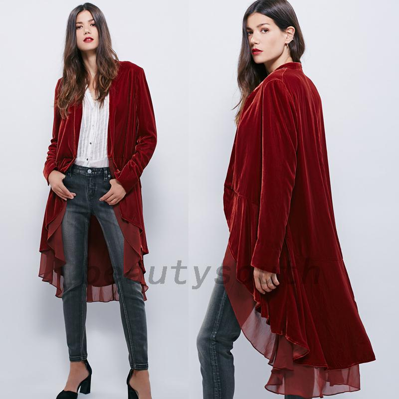 New Velvet Womens Chiffon Trim Cardigan Wrap High Low Jacket ...