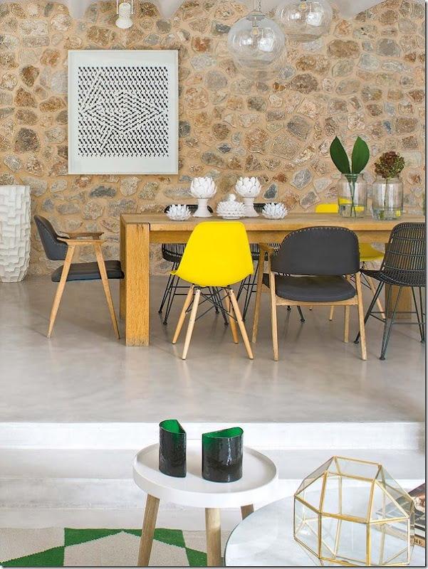 Pranzo in verde e giallo e stile retro-vintage-nordico