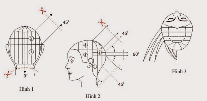 Day cat toc nu co ban kieu toc ngang chui tang cao 1 Dạy cắt tóc nữ cơ bản, Kiểu tóc ngang chúi tầng thấp