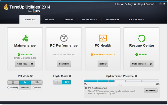 تحميل برنامج TuneUp Utilities لتسريع الويندوز وتنظيف الجهاز إصدار 2014 14.0.1000.221