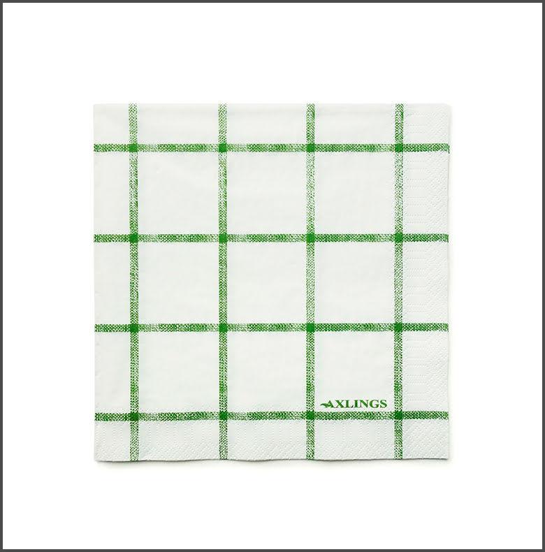 Pappservett Köksruta Bladgrön