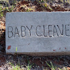 A homemade headstone for a baby.